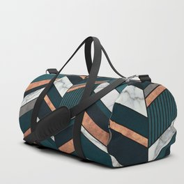 Abstract Chevron Pattern - Copper, Marble, and Blue Concrete Duffle Bag