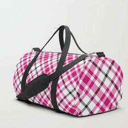 Pink Black and White Tartan Duffle Bag