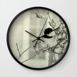 Where a Chickadee rests Wall Clock