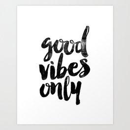 Good Vibes Only black and white typography poster black-white design home decor bedroom wall art Kunstdrucke