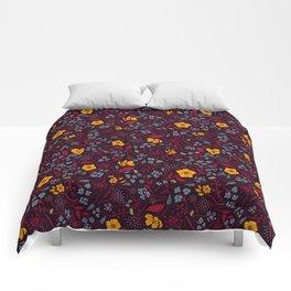 Mustard Yellow, Burgundy & Blue Floral Pattern Comforters