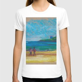 Beach in early spring. Oil pastel etude. T-shirt