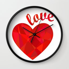 Red low poly heart and Love Wall Clock