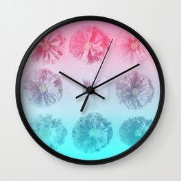 Blue Gradient Flower Grid Wall Clock