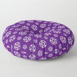 Dark Purple White Pentacle Pattern Floor Pillow