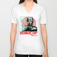 robocop V-neck T-shirts featuring Robocop  by Buby87