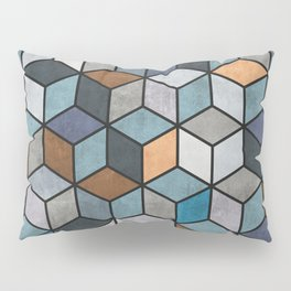Colorful Concrete Cubes - Blue, Grey, Brown Pillow Sham