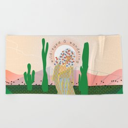 Wild-Eyed & Wandering, Woman and Cactus Contemporary Illustration Beach Towel