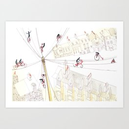 Cycling in London Art Print