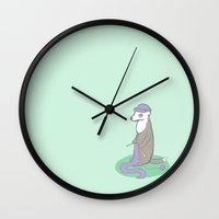 knitting Wall Clocks featuring Knitting Ferret by Noreen Torelli