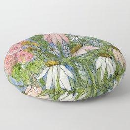 Garden Flowers Bee Blue Sky Nature Art Floral Watercolor Print Floor Pillow