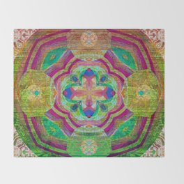 Heart Light Peaceful Wooden Mandala Print Throw Blanket
