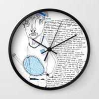tennis Wall Clocks featuring Tennis by Andrea Forgacs
