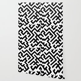 Black and White Diagonal Labyrinth Wallpaper