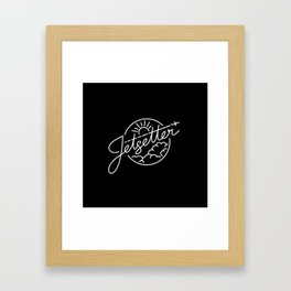 Jetsetter - White ink on black Framed Art Print