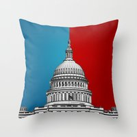 politics Throw Pillows featuring American Politics by politics