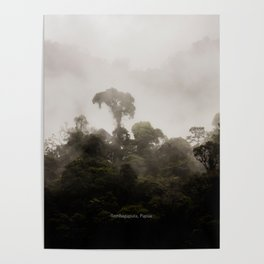 A tree standing tall in the clouds Poster
