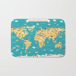Animal map for kid. World vector poster Bath Mat