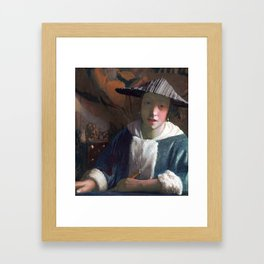 Johannes Vermeer Girl with a Flute Framed Art Print