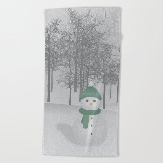 Christmas Snowman Beach Towel