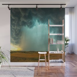 Open the Heavens - Panoramic Storm with Teal Hue in Northern Oklahoma Wall Mural