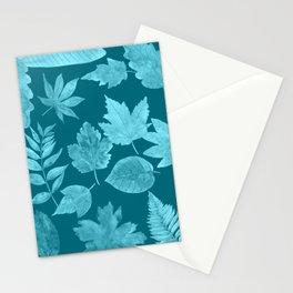 Fall leaves in peacock blue Stationery Cards