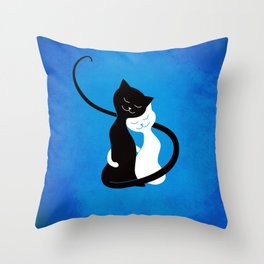 White And Black Cats In Love Throw Pillow