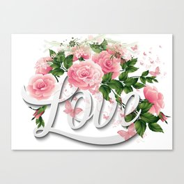 Love Pink Floral Roses Canvas Print