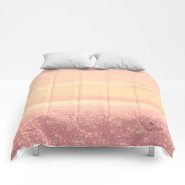 Dreamy Champagne Pink Sparkling Ocean Comforters