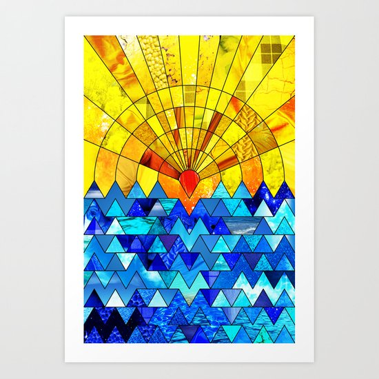 Sun & Sea Collage Art Print