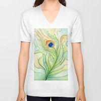 peacock feather V-neck T-shirts featuring Peacock Feather by Olechka
