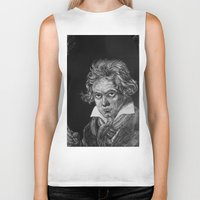 beethoven Biker Tanks featuring Beethoven by Sean Villegas