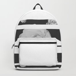 White Stipe Roses Backpack