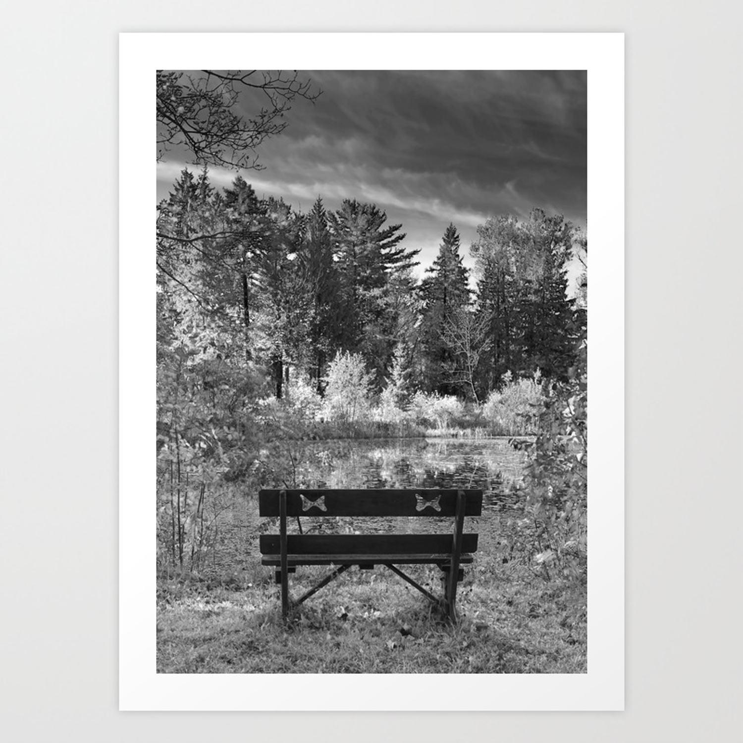 Park bench and pond landscape in infrared black and white art print