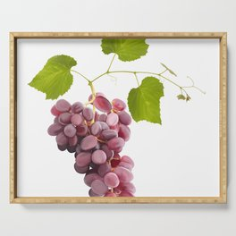 Ripe red grape fruits with leaves isolated on white.Digital painting. Serving Tray