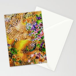 Floral Leopard Multi-coloured Skin Pattern Art  Stationery Cards
