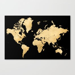 Sleek black and gold world map Canvas Print