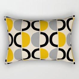 Mid Century Modern Half Circle Pattern 547 Beige Black Gray and Yellow Rectangular Pillow