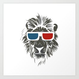 Lion with 3D sunglasses Art Print