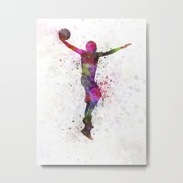 young man basketball player dunking Metal Print