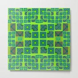 Retro Techno Glitch Quilt Green Print Metal Print