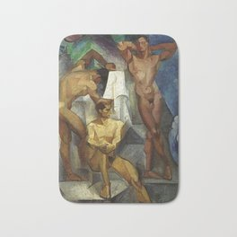 Young Bathers by George Pauli Nude Male Art Bath Mat