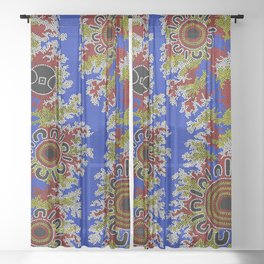 Authentic Aboriginal Art - Waterholes Corela Sheer Curtain