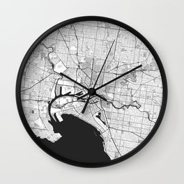 Melbourne City Map Gray Wall Clock