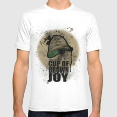 cup of brown joy MEDIUM Mens Fitted Tee White