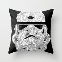 gore Throw Pillows featuring Gore Trooper Blk/Wht by Josh Ln