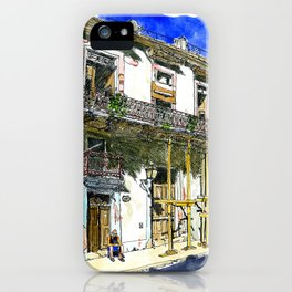 Man Sitting in Front of His House, Habana Vieja, Cuba iPhone Case