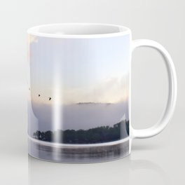 Uplifting: Geese Rise at Dawn on Lake George Coffee Mug