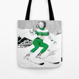 Snow Bunny Pin Up Girl Green Tote Bag