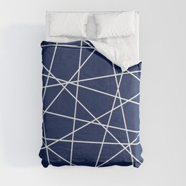 Geometric Lines (white/navy blue) Comforters